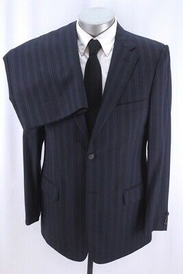 mens charcoal black stripe VALENTINO 2pc PANT SUIT italy two button wool 42 L