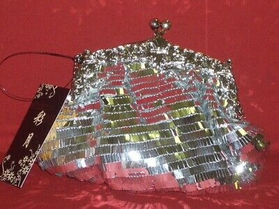 Crossbody Small Gala Evening Bag Sequin Silver New with Label