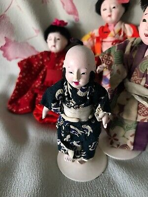 "Mini 3""Antique Boy Ichimatsu Doll* Japan, Hi Sheen Gofun*Quality Kimono/Doll*Exc"