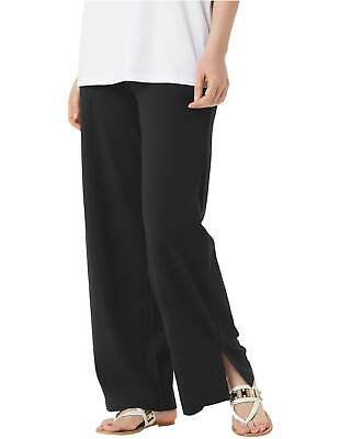 Denim & Co. Womens Beach Pull-On Pants with Side Slits Large Black A351804