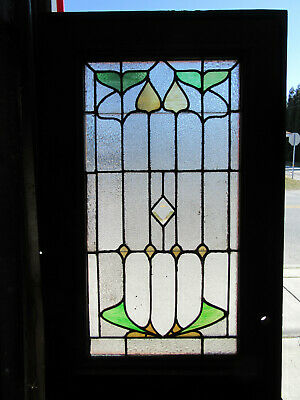 ~ Antique Oak Door With Stained Glass ~ 33.75 X 83 ~ Architectural Salvage ~