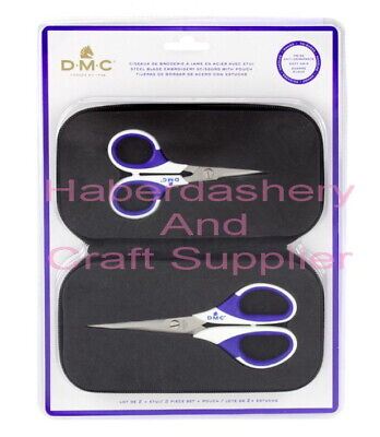Dmc Scissor 2 Piece Gift Set Embroidery Soft Grip Handle With Pouch