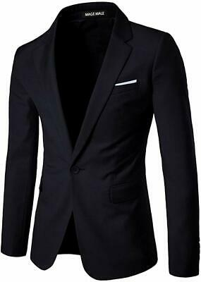 MAGE MALE Mens Deep Blazer Black ASIA Size 5XL Slim-Fit One-Button $78- 023