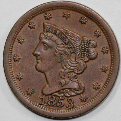 1853 1/2c Braided Hair Half Cent