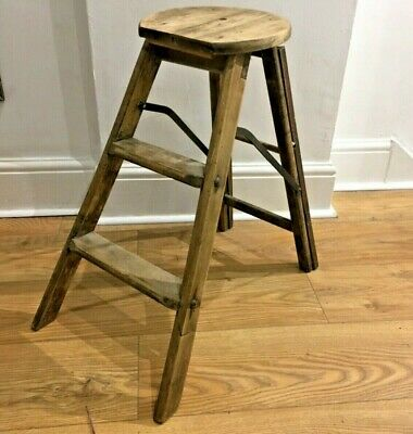 Antique 2 Step and seat Pine Wood Folding Stool Ladder hinged