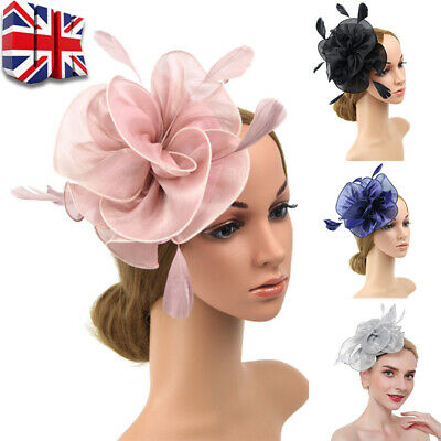 Womens Fascinator Hat Feathers Flower Mesh Hat Lace Hat Wedding Party Headband