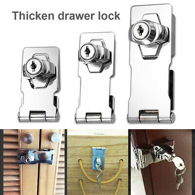 Keyed Hasp Lock Twist Knob Keyed Locking for Small Doors Drawer Cabinet Silver