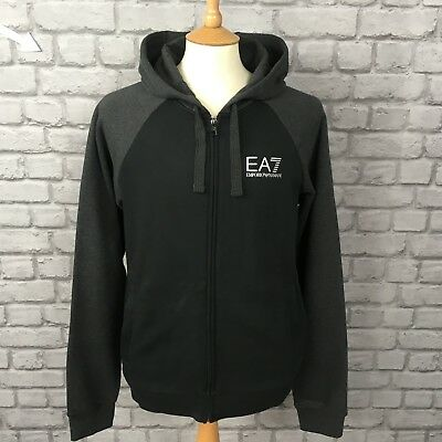 Ea7 Emporio Armani Mens Uk Xl Black Grey Full Zip Hooded Top Hoodie Hoody Casual