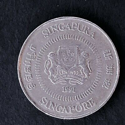 Singapore 10 Cents 1991 Singapura Foreign Coin
