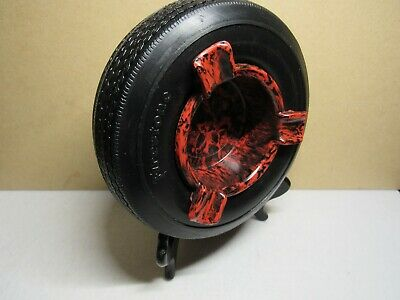 Vintage Firestone tire ashtry with red insert