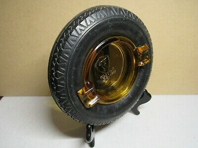 Vintage Firestone tire ashtray with amber glass insert
