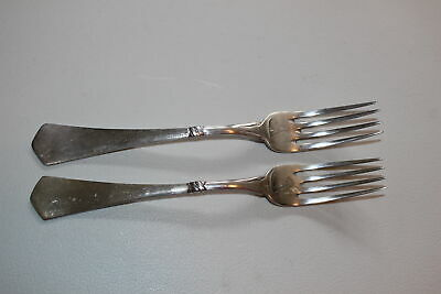 "Set Of 2 Christian F. Heise Danish Silver 7"" Forks-Art Nouveau"