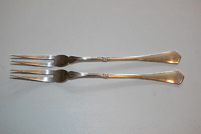 "2 Christian F. Heise Danish Silver 7.75"" 2-Prong Serving Forks-1917"