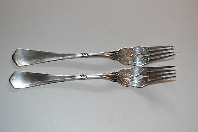 "Set Of 2 Christian F. Heise Danish Silver 7-1/2"" Forks-Art Nouveau-1917"