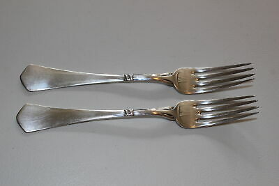 "Set Of 2 Christian F. Heise Danish Silver 7.25"" Forks-Art Nouveau-1917"