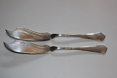 2 Christian F. Heise Danish .830 Silver Master Butter/Fish Knives-1917