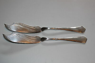 2 Christian F. Heise Danish 830S Silver Master Butter/Fish Knives-1916