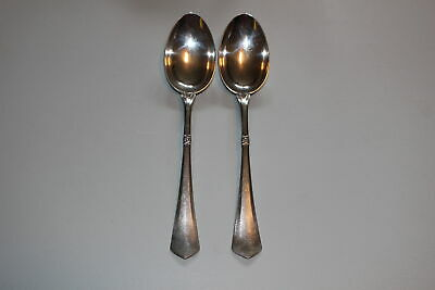 "Pair Of Christian F. Heise Danish Silver 8-3/8"" Spoons-Art Nouveau-1917"