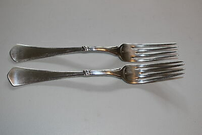 "Set Of 2 Christian F. Heise Danish Silver 8-3/8"" Forks-Art Nouveau-1917"