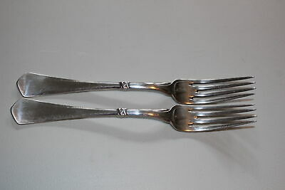 "2 Christian F. Heise Danish Silver 8-3/8"" Dinner Forks-Art Nouveau-1917"