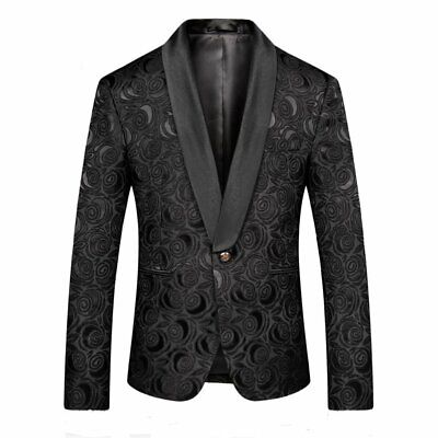 MOGU Mens Blazer Slim Fit Suit Jacket White and Black for Christmas Party