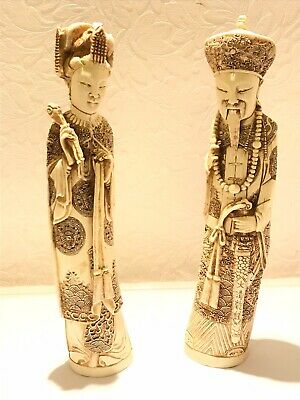 Pair Of Vintage Oriental Ivory Style Resin Figures