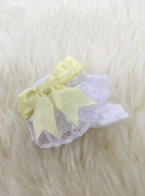 Traditional Baby Girls Lace Frilly Bow Ankle Socks White Yellow Lemon Bow