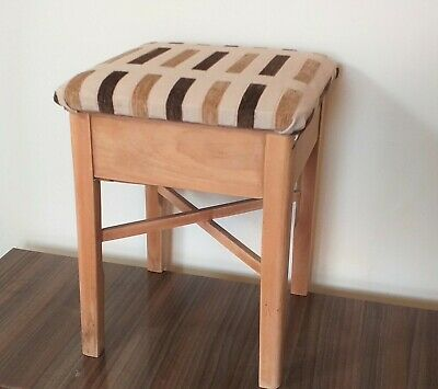 VINTAGE 1960's SWEDISH WOODEN STOOL SOLID PINE WITH UNDER SEAT STORAGE