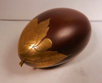 Japanese Maki-E Lacquer Incense Box Eggplant Shape,Meiji Period,Nashiji Interior