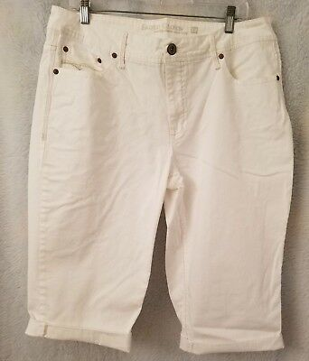 Faded Glory Womens White Jean Shorts Capris Pants Size 18