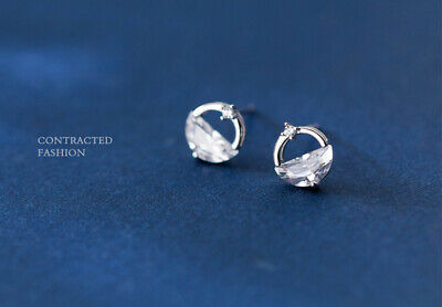 Fashion Elegant 925 Silver Circle Crystal Stud Charm Earrings Jewelry UK