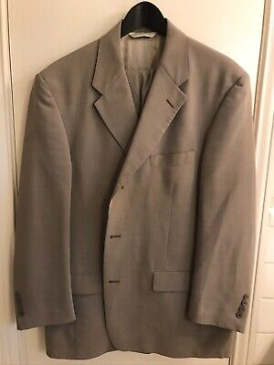 Palm Beach Tan Two Piece Beige Suit 100% Wool USA Size 44R