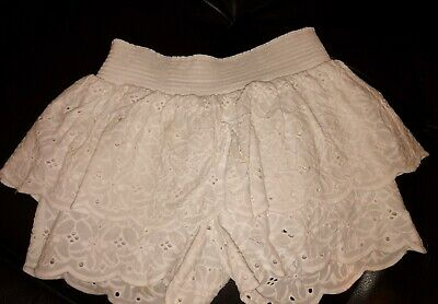 Girls Seed Lace White Shorts Size 9 Very Cute