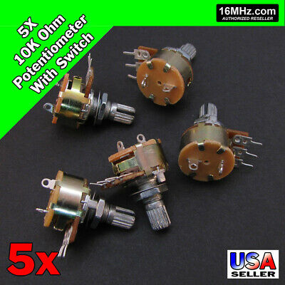 5x 10K OHM Linear Taper Rotary Potentiometer B10K w/On Off Switch US 5pcs U49