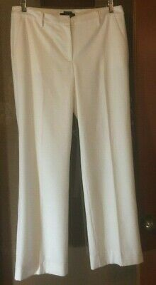 Talbots Ivory White Italian Flannel Windsor Wool lined stretch pants size 10