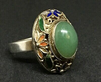 Antique CHINESE EXPORT Sterling Silver JADEITE JADE Enamel Filigree Ring