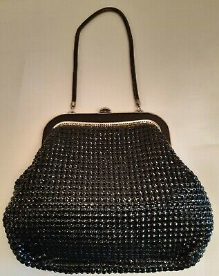 Vintage Black Glomesh Evening bag with black trim and chain.
