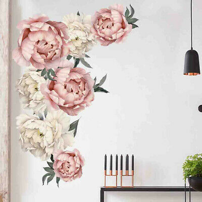 Peony Rose Flowers Wall Sticker Art Nursery Decals Living Room Home Decor Gift