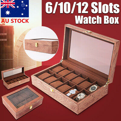 1/6/10/12 Slots Wooden Watch Box Display Organizer Jewelry Storage Case Holder