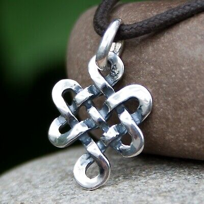 Tibetan Endless Knot Pendant Necklace Love Buddhist Amulet 925 Silver HANDMADE