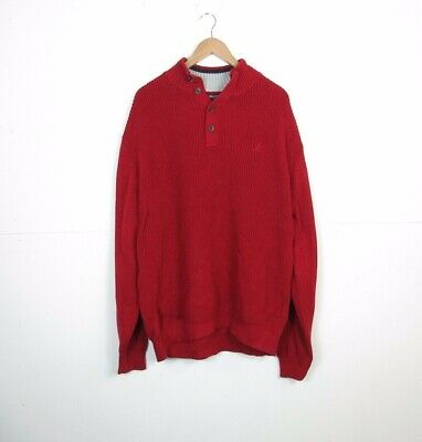 Mens NAUTICA Heavy Cable Thick Knit Jumper Sweater Pullover Red Sz XXL BIG TALL