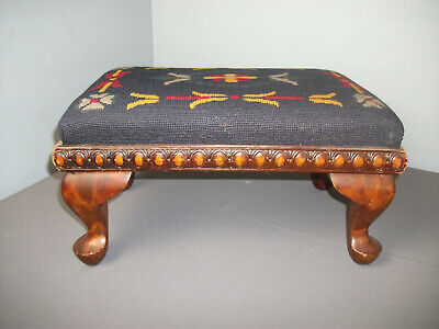"Vintage Wooden Stool - Needlepoint Top w/ Queenanne Legs - 17 1/2"" long - b wk"