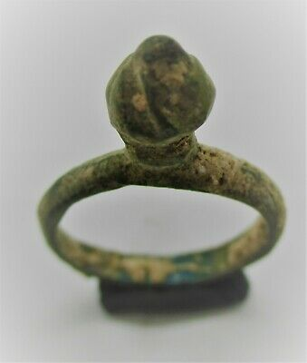 Circa 900 - 1100 Ad Viking Era Norse Bronze Ring With Protruding Bezel