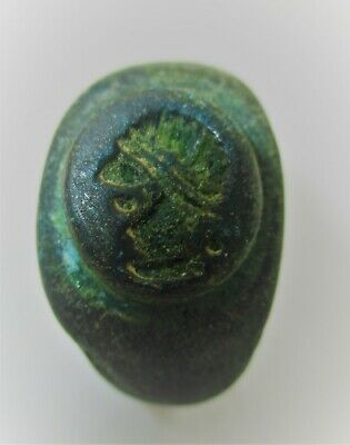 Detector Finds Ancient Roman Heavy Bronze Seal Ring With Ruler On Bezel