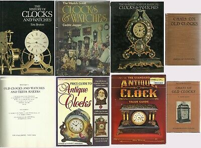Lot of 8 Vintage Books on Antique Clocks & Watches History Collecting Color Pics