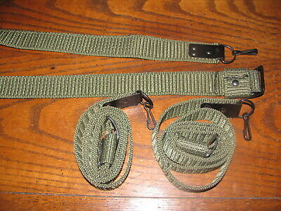 2 Romanian green nylon web rifle slings with clip combloc 7.62x39 military lot