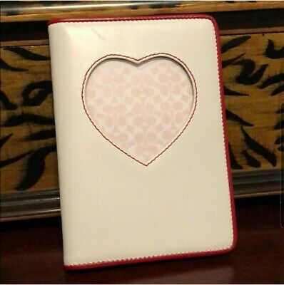 Coach 4x6 Photo Album or Agenda/Planner White/Red Heart Leather