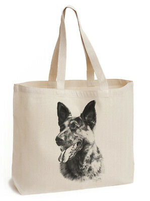 Mike Sibley German Shepherd (im2) | Dog  | Gusseted Canvas Shopping Tote Bag
