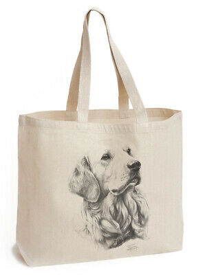 Mike Sibley Golden Retriever Dog | Natural Gusseted Canvas Shopping Tote Bag