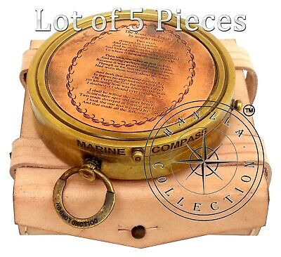 Vintage Marine Antique Engraved Brass Dollond London Compass Lot of 5 Pieces